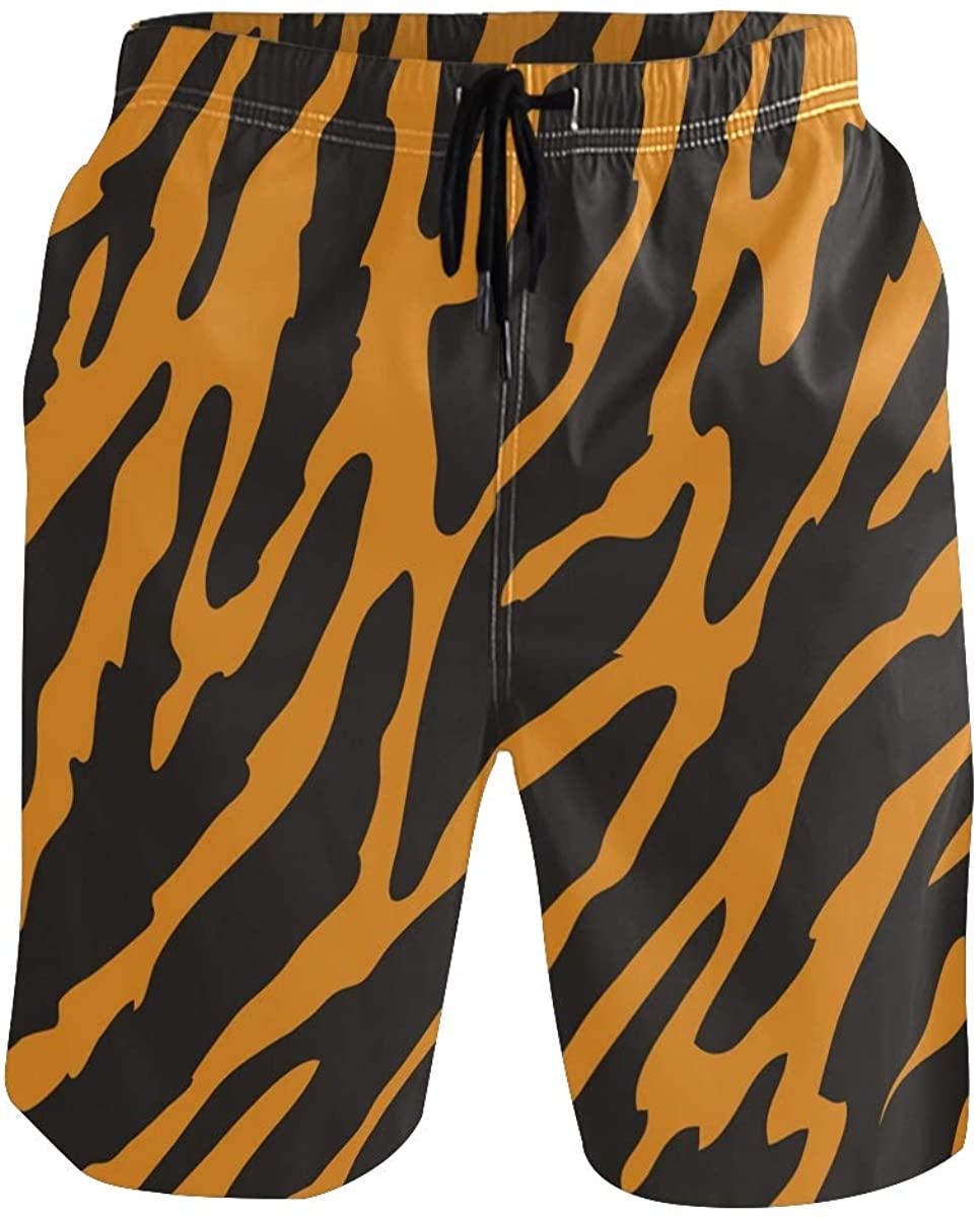 Men Quick Dry Tiger Stripes Beach Swimwear Shorts with Pocket Beach Shorts