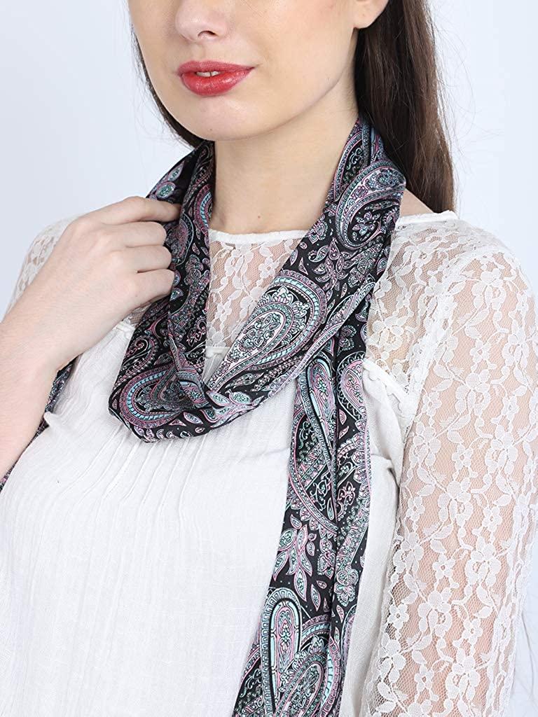 Indian paisley print black fringes choker scarf bridesmiad long skinny stoles by 1 pieces thick black choker narrow neck crowl women's fashion wraps women's neck tie beautiful ethnic wear shawls