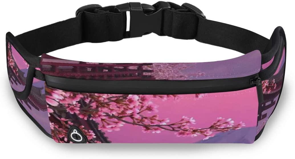 Japan Pink Cherry Blossom Mount Fuji Dad Fanny Pack For Men Woman Waist Pack Designer Fashion Bag With Adjustable Strap For Workout Traveling Running