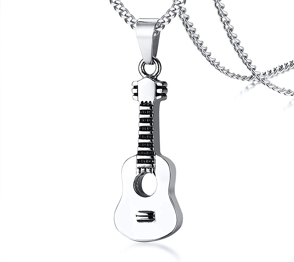PJ Jewelry Unisex Stainless Steel Guitar Shape Memorial Keepsake Ashes Holder Cremation Urn Remembrance Necklace
