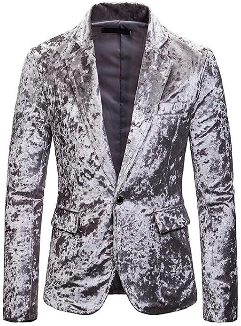 Mens Long Sleeve Casual Business Pleuche 1 Button Suit Blazer Coat Jacket,Light Gray,US-XL