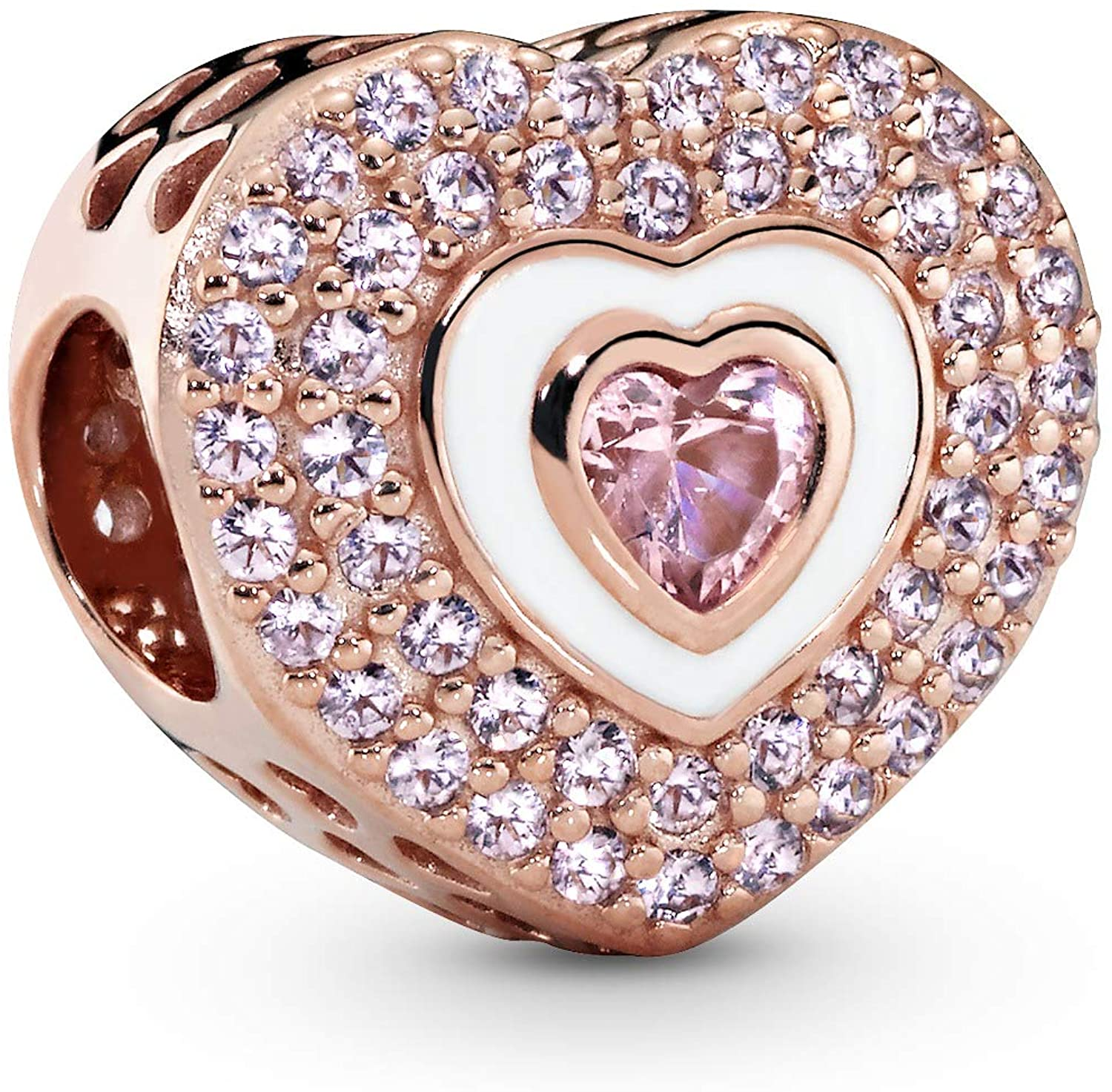 Pandora Jewelry Pink Pave Heart Crystals Charm in Pandora Rose