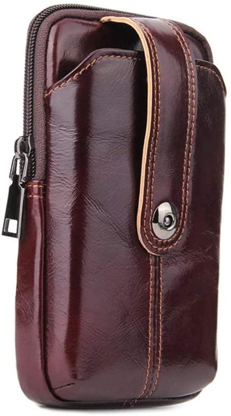Yehyep Leather Vertical Waist Bag, High Capacity Men Belt Bag Multi-Function Card Pocket Phone Pouch Travel Purse, Brown