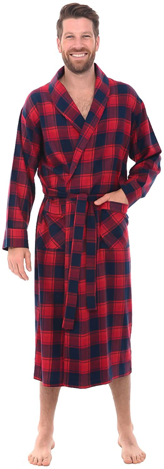 Alexander Del Rossa Men's Lightweight Flannel Robe, Soft Cotton Kimono