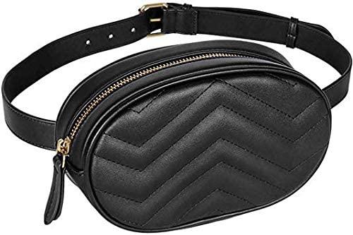 Geestock Women Waist Bags Waterproof PU Leather Belt Bag Fanny Pack Crossbody Bumbag for Party, Travel, Hiking (Black)
