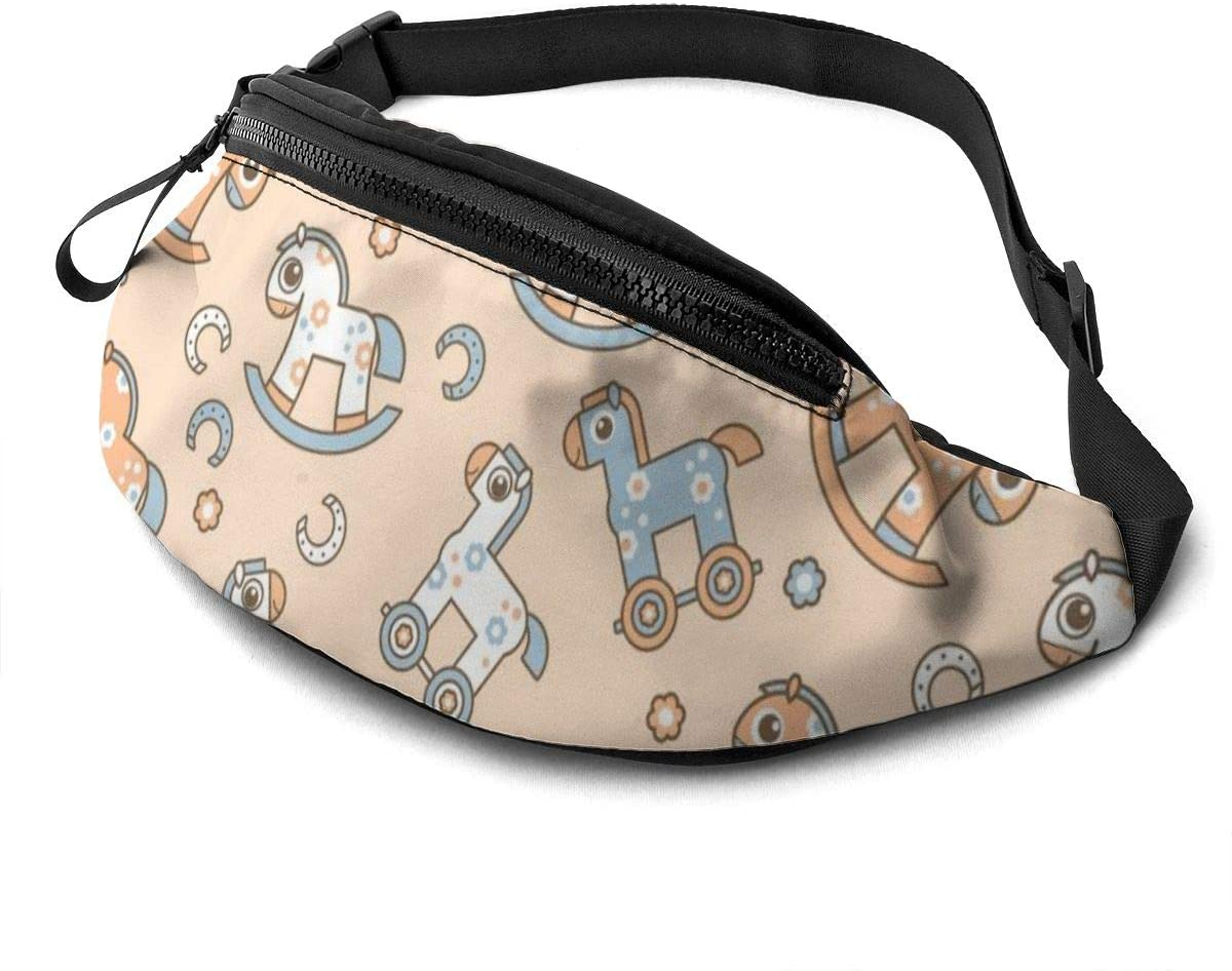 Cartoon Horse Fanny Pack For Men Women Waist Pack Bag With Headphone Jack And Zipper Pockets Adjustable Straps