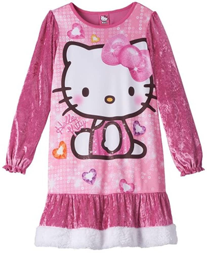 Hello Kitty Little Girl Long Sleeve Velour Night Gown 6 Pink