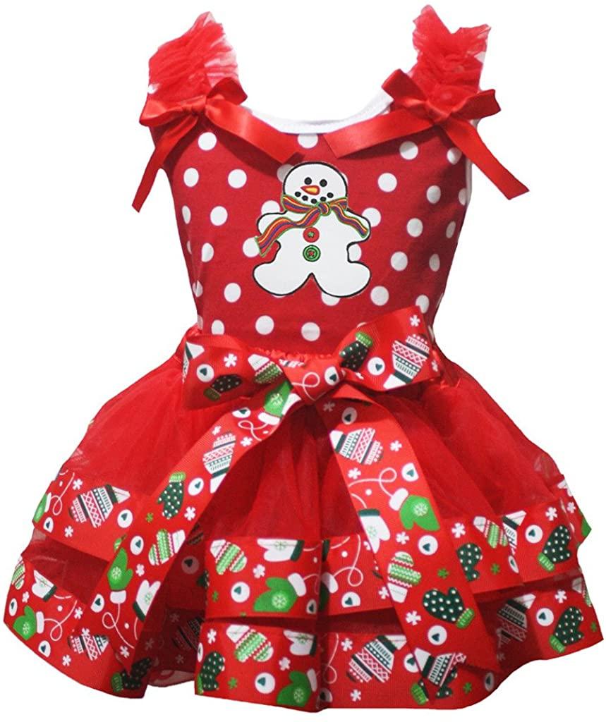 Petitebella Snowman White Dots Red Shirt Petal Skirt Xmas Outfit Set Nb-8y