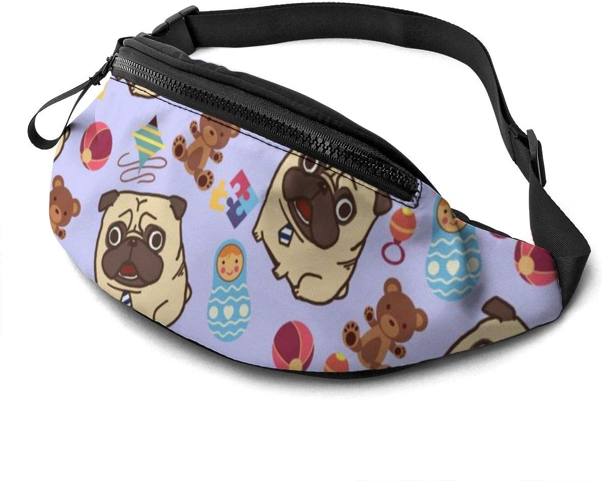 Pug and toy Fanny Pack for Men Women Waist Pack Bag with Headphone Jack and Zipper Pockets Adjustable Straps