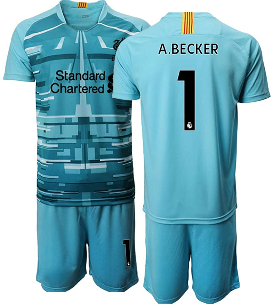 Kids 20/21 A.Becker 1# Liverpool Soccer Jersey T-Shirt and Sports Shorts Suit -Light Blue