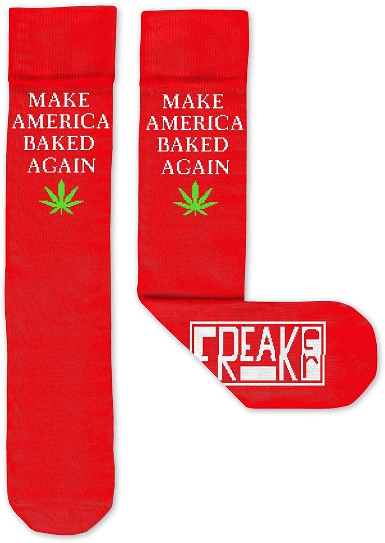 FREAKER Feet, Unisex Casual Dress Fun Colorful Cotton Crew Socks, MABA Make America Baked Again
