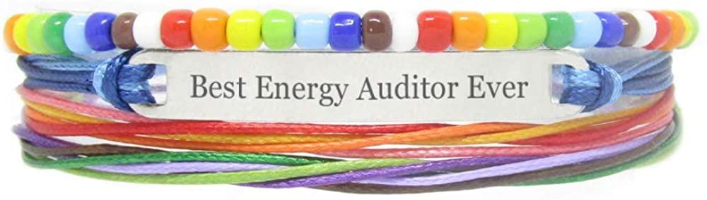 Miiras Handmade Bracelet for LGBT - Best Energy Auditor Ever - Rainbow - Made of Braided Rope and Stainless Steel - Gift for Energy Auditor