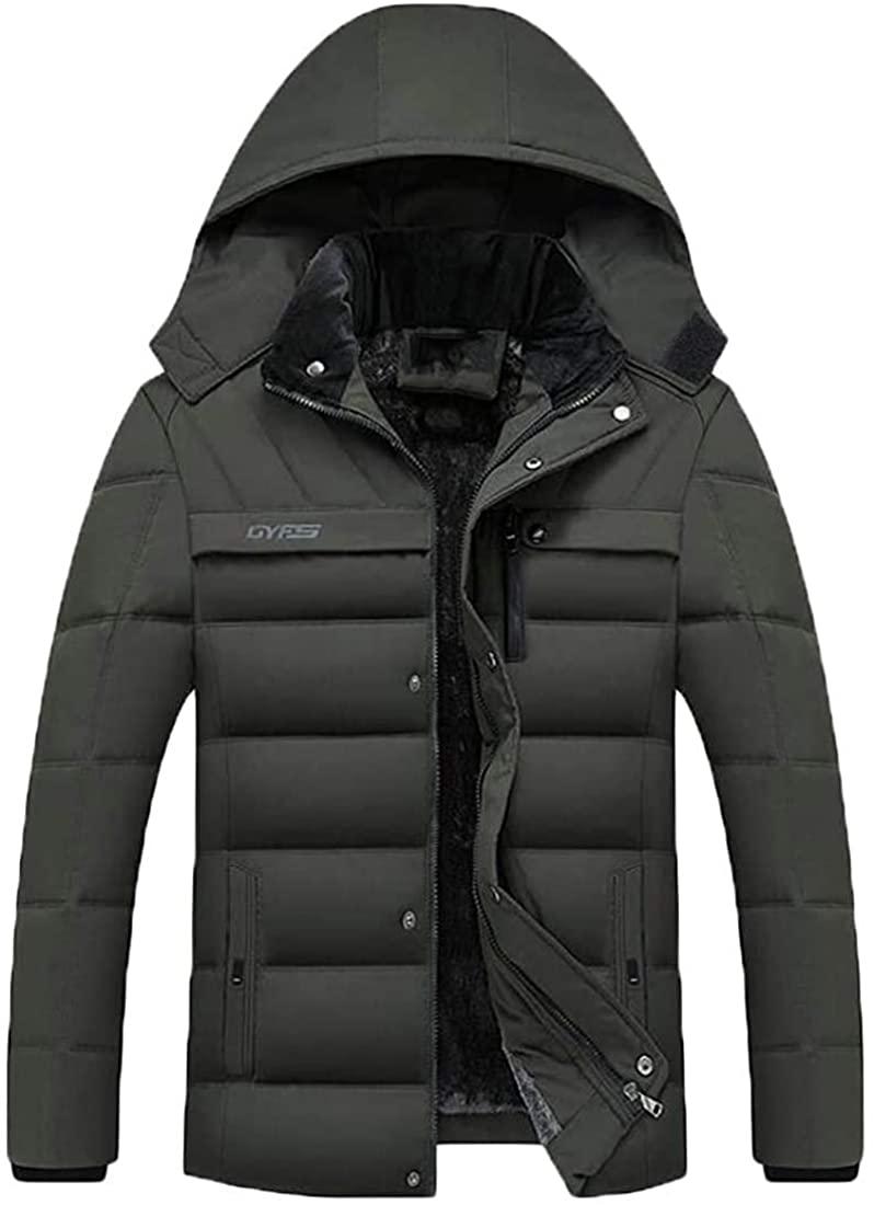Qhghdgysd Mens Zipper Parkas Coat Puffer Winter Fleece Lined Down Jackets