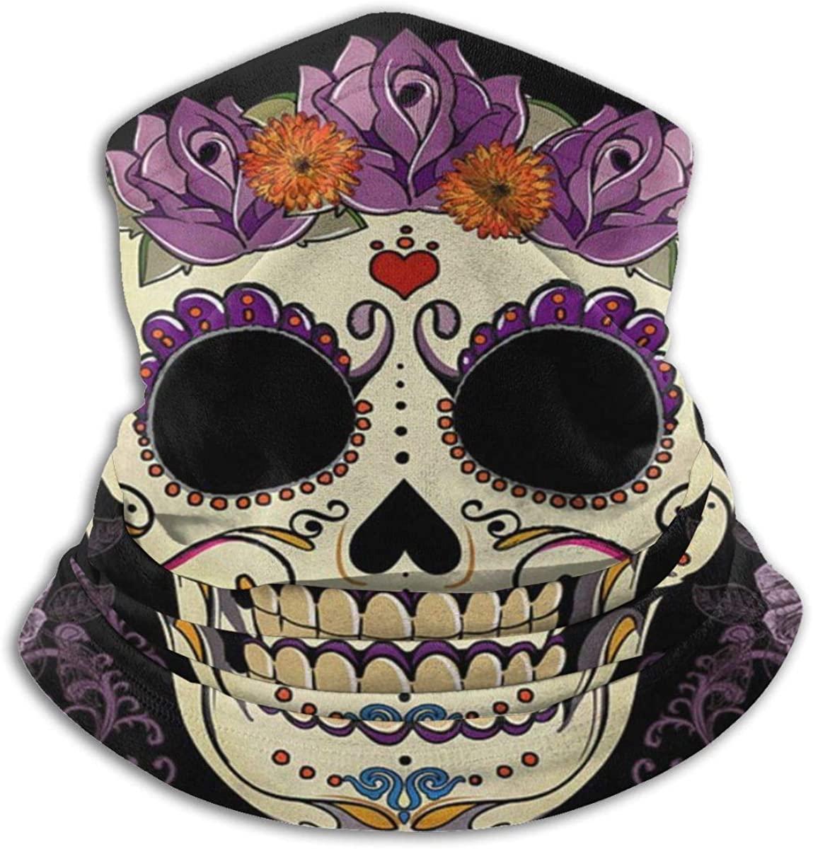 Face Mask, Neck Gaiter, Vintage Sugar Skull Bandana, Balaclava Windproof,Anti Dust Magic Scarf for Women Men