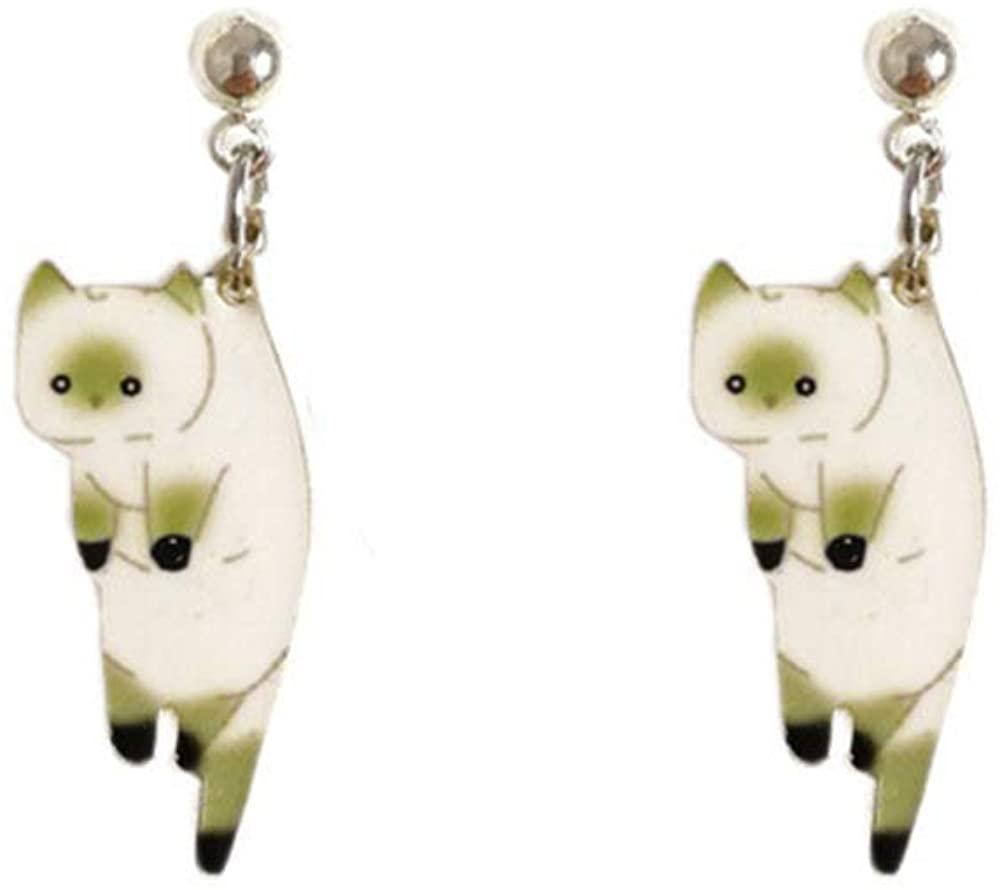 Cute Naughty Cat Pet Stud Earrings for Women and Girl Animal Lover Earrings