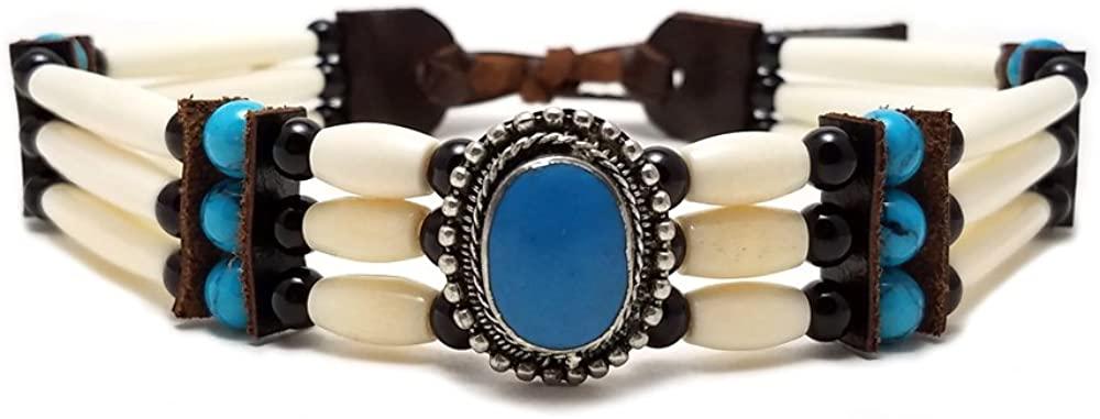 Local Bead Shop Handmade Traditional 3 Row Buffalo Bone Hairpipe Beads Tribal Choker Necklace