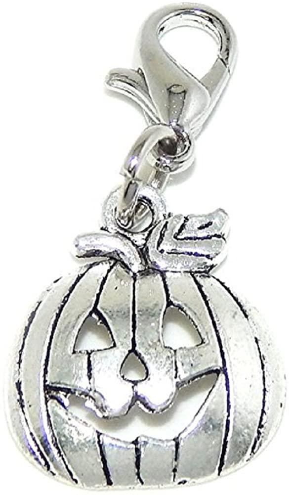 GemStorm Silver Plated Dangling Halloween Jack O Lantern Pumpkin Clip On Lobster Clasp Charm