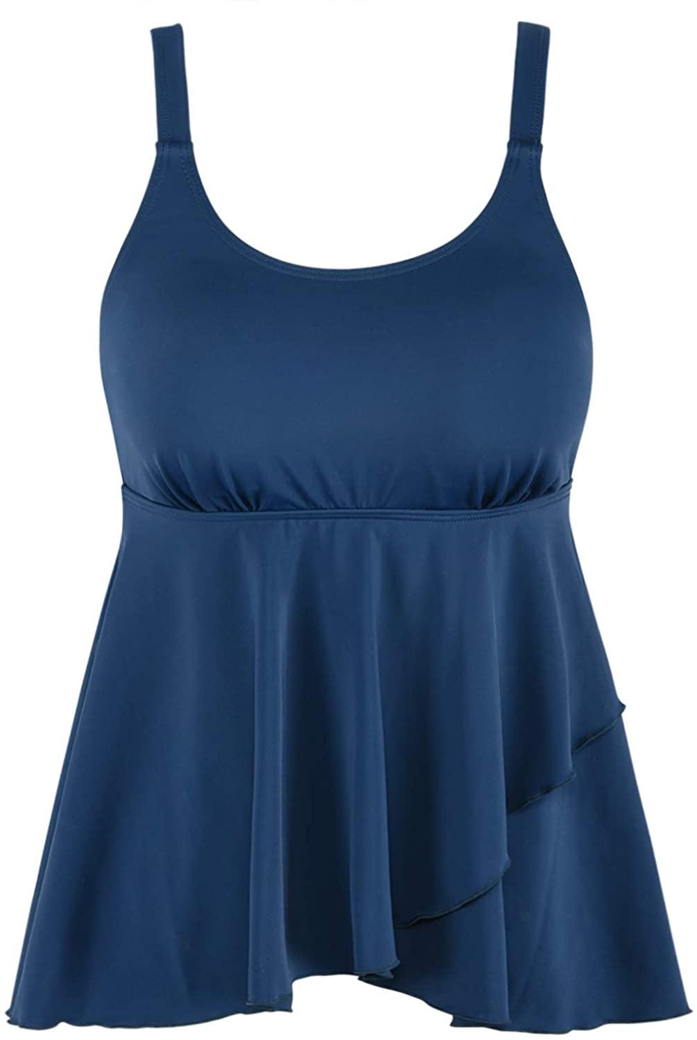 Septangle Women's Bandeau Flowy Swim Top Padded Swimwear Tankini Tummy Control Swimsuit Top