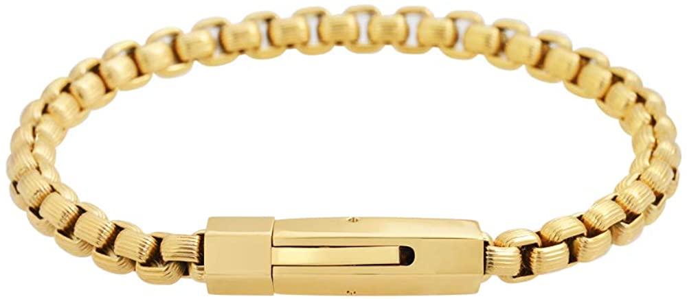 Geoffrey Beene Men's Stainless Steel Pattern Box Chain Bracelet
