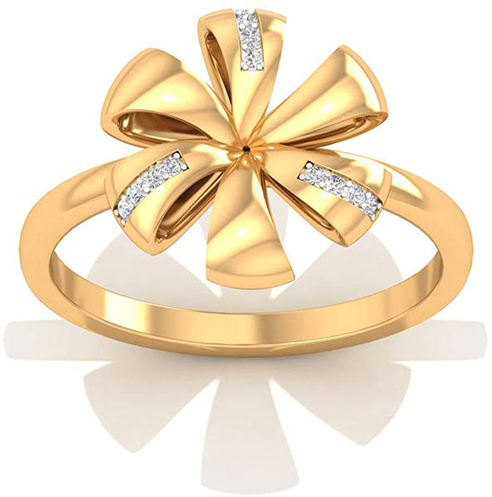 Solid 14k Gold Flower Wedding Anniversary Rings, Pave IGI Certified Diamond Flower Ribbon Wedding Rings, Minimal Bridal Promise Matching Rings for Her, 14K Yellow Gold, Size:US 9.5