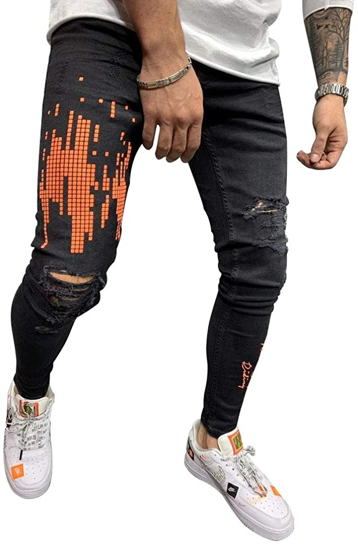 Hungson Men's Black Ripped Jeans and Skinny Slim Fit Stretch Straight Leg Fashion Jeans Pants, Fashion Black, 36