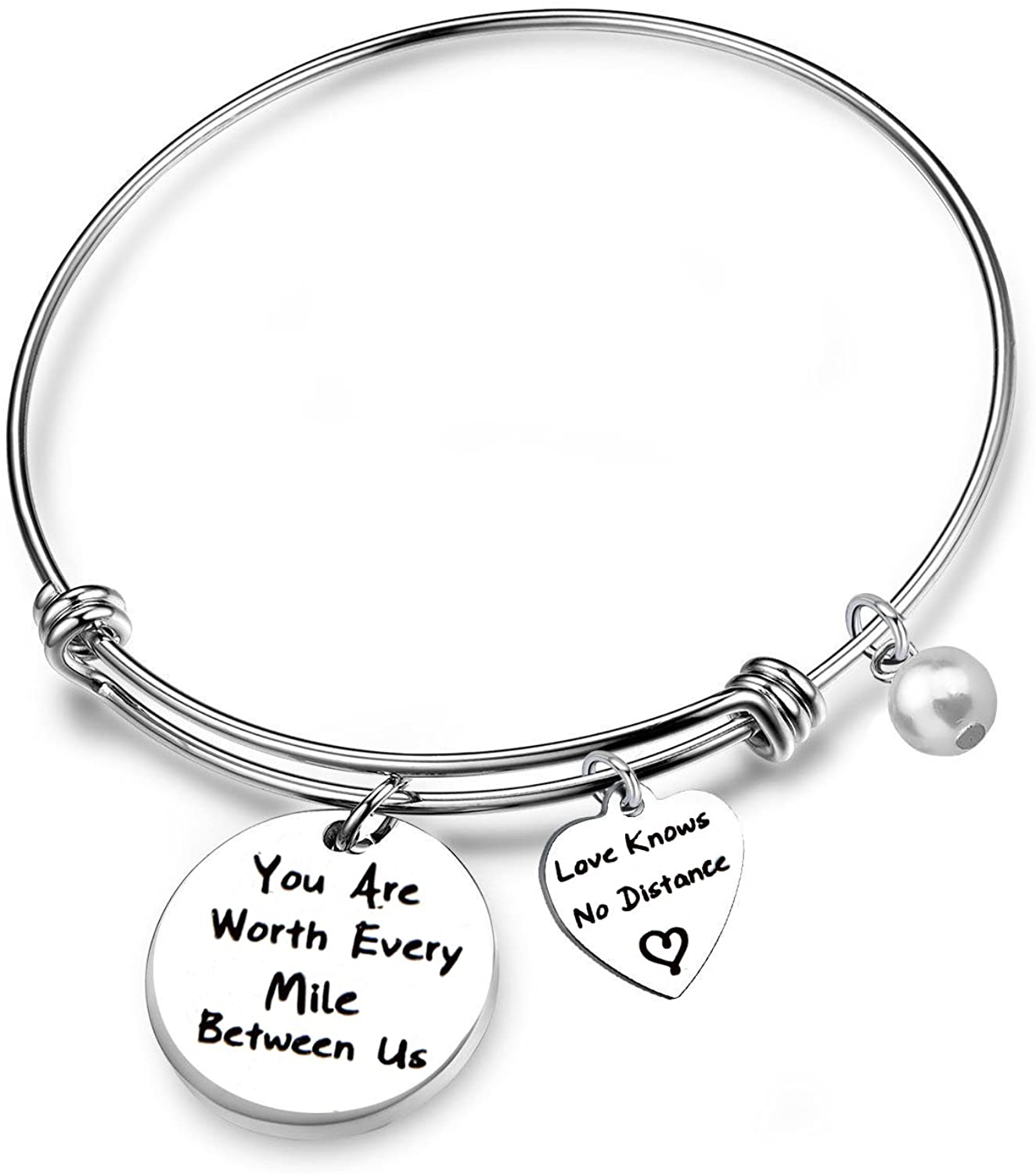 FEELMEM Anniversary Bracelet You are Worth Every Mile Between Us Adjustable Bangle Long Distance Relationships Gifts