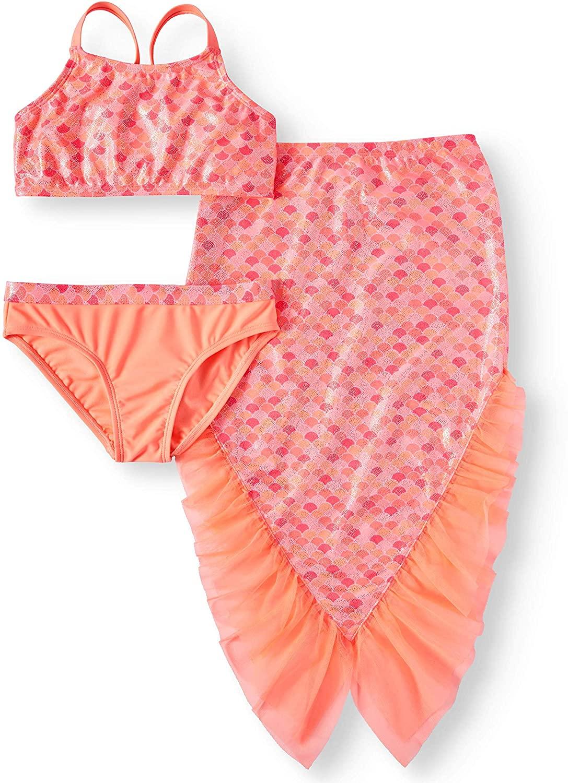 Girls Peach Smoothie Mermaid Bikini Swimsuit & Skirt Coverup 3-Piece Set