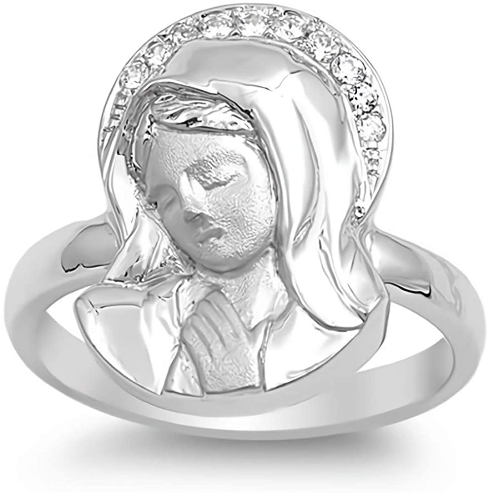 Glitzs Jewels 925 Sterling Silver CZ Ring (Clear/Virgin Mary) | Cubic Zirconia Jewelry Gift