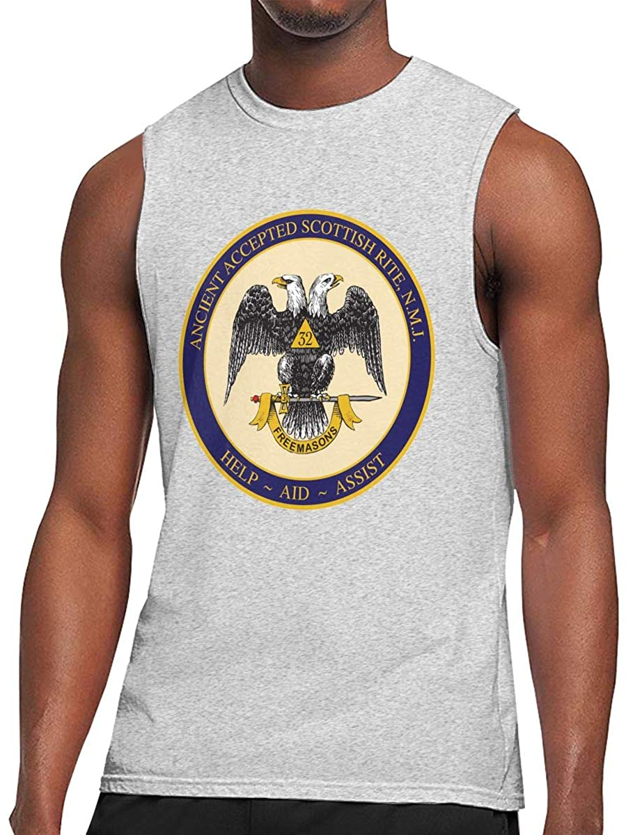 Ancient Accepted Scottish Rite Masonic Men's Round Collar Sleeveless T-Shirt Bodybuilding T-Shirt