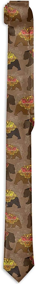Men's Tie Bears Floral Flower Body Fashion Silk Skinny Ties Personalized Gift Neckties
