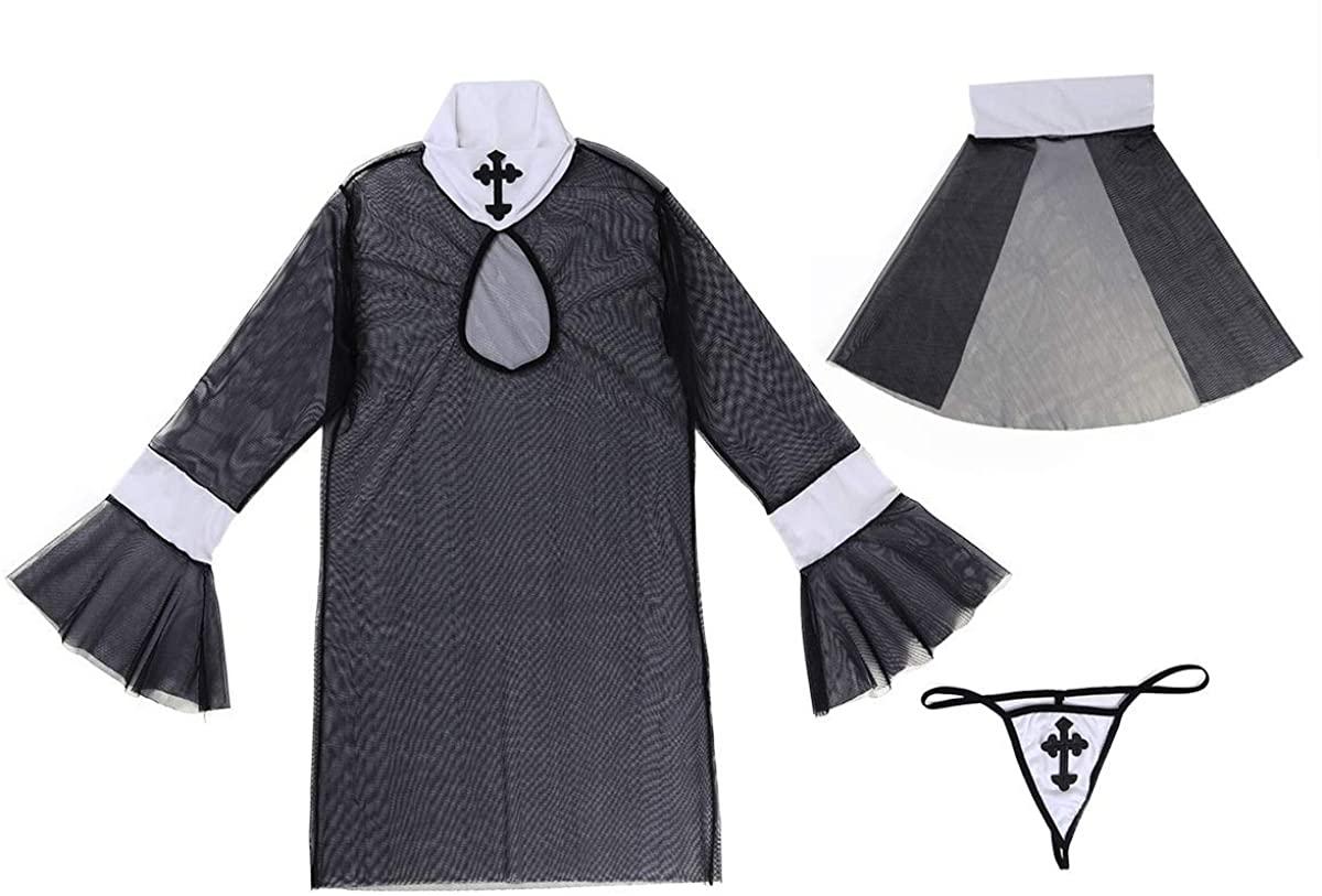 iiniim Women Lingerie Nun Sexy Costume Outfit Set Babydoll Bedroom Honeymoon Cosplay Uniform Black