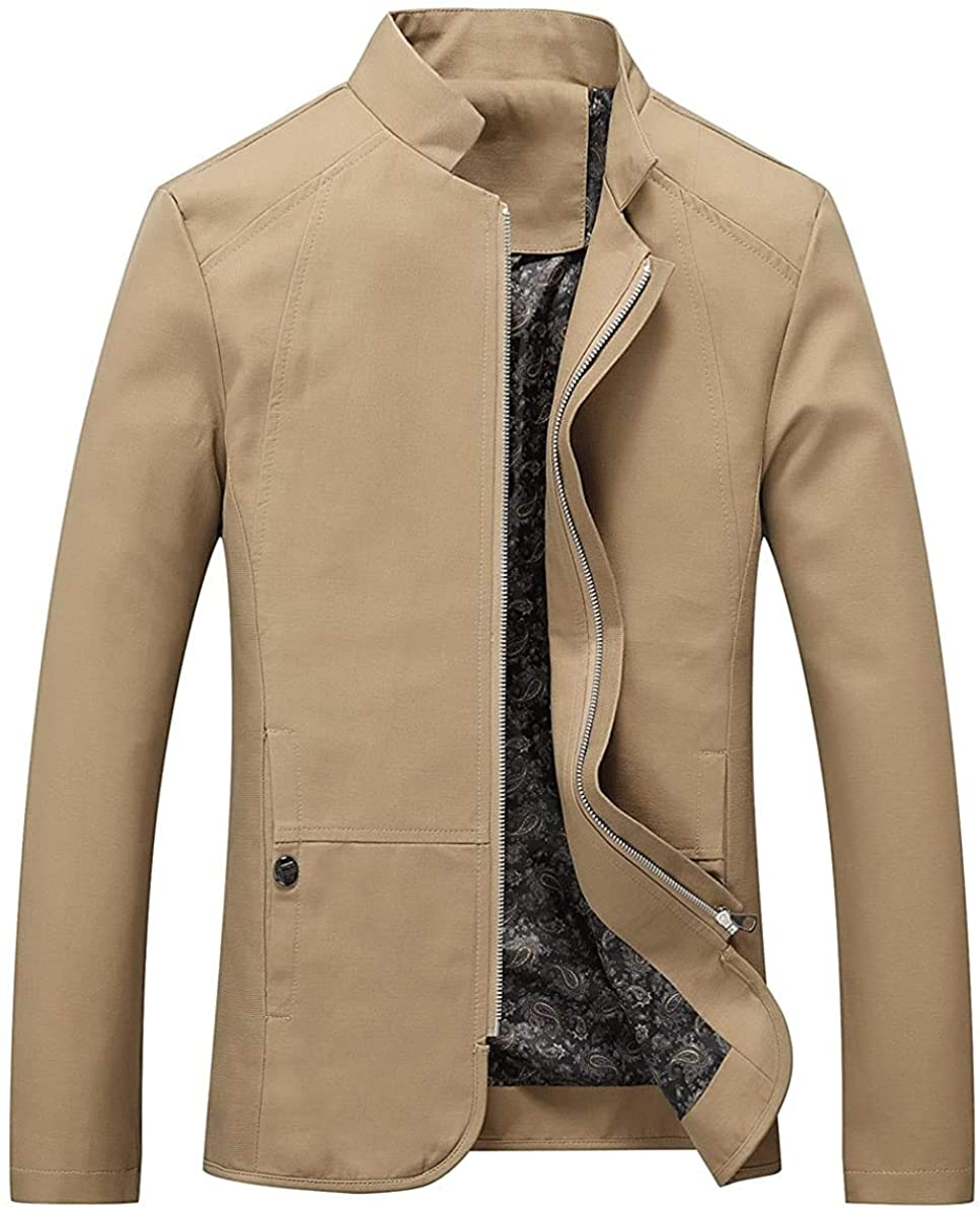 Qhghdgysd Men's Cotton Lightweight Zip-Front Jacket