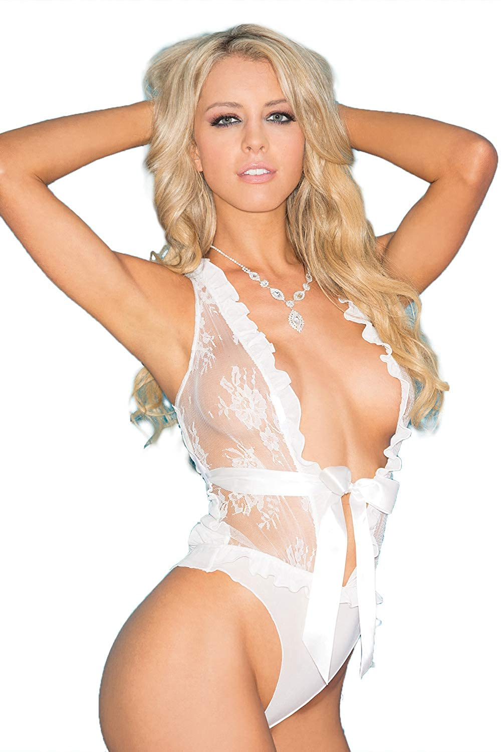 Stretch Lace and Sheer Mesh Teddy, Lace Teddy