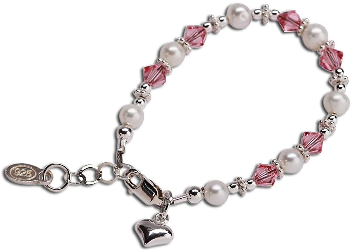 Children's Sterling Silver Cultured Pearl Bracelet with Pink Swarovski Crystals and Heart