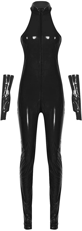 zdhoor Womans Patent Leather Nightclub Catsuit One-Piece Zipper Front Bodysuit Leotard Clubwear