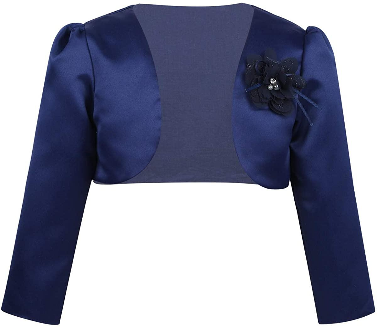 winying Kids Girls 3D Flower Long Sleeves Bolero Shrug Jacket Cardigan Bridesmaid Outerwear