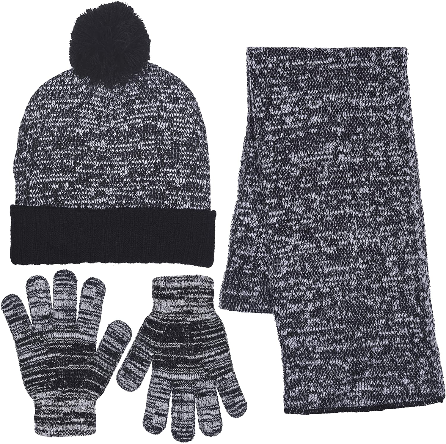 Girls Knit Pom Beanie Scarf & Gloves Set to Keep Warm in Winter in 4 Colors