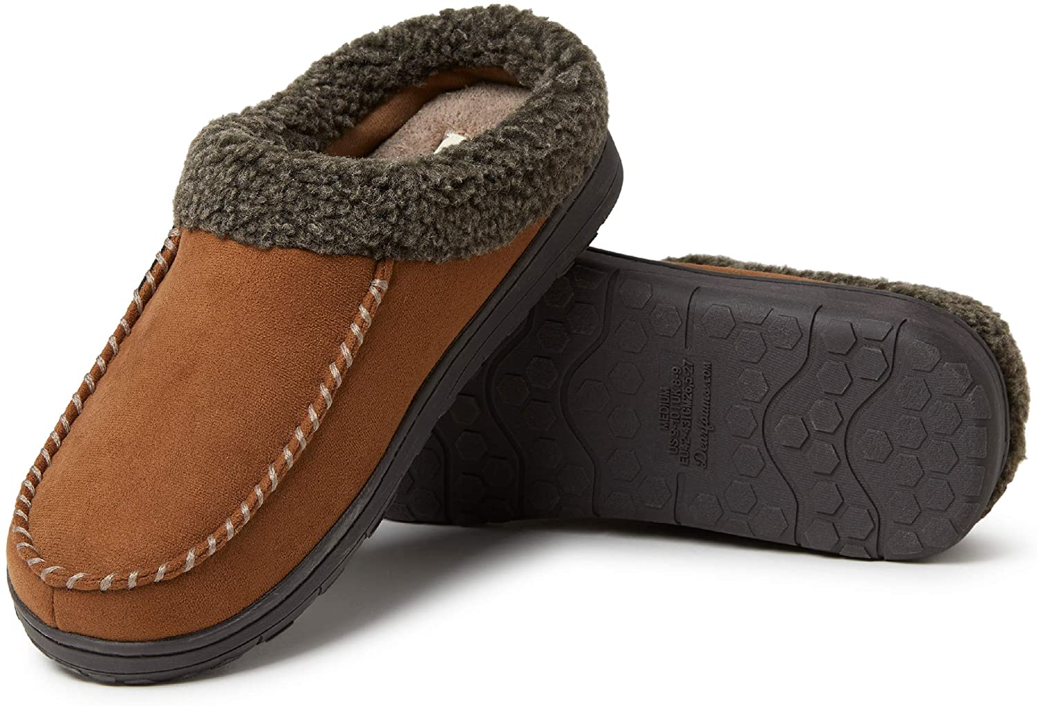 Dearfoams Men's Microfiber Suede Clog with Whipstitch Slipper