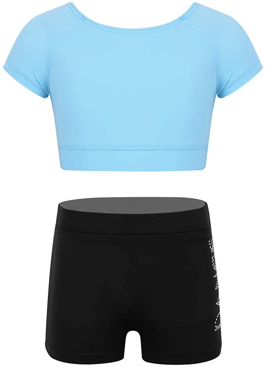 Haitryli Kids Girls Two Piece Short Sleeves Tops with Bottoms Set Ballet Dance Gymnastic Sports Active Outfits