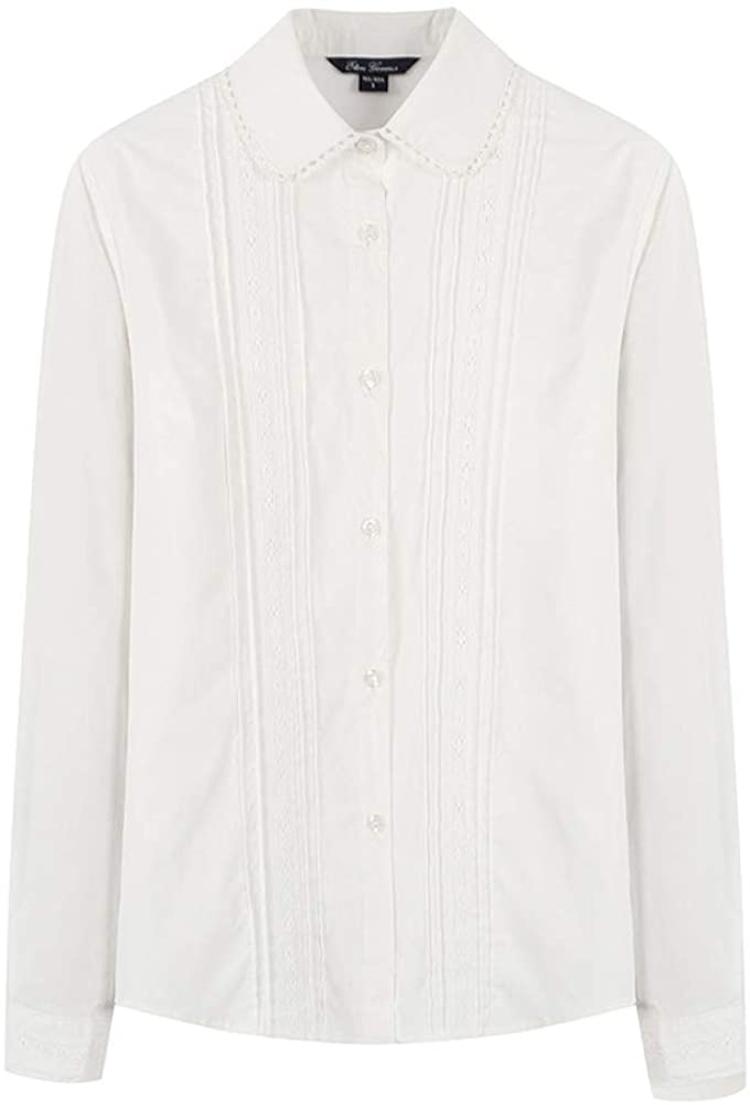 E-yes Clothing Big Girls' School Uniform T-Shirts Long Sleeve Shirts White