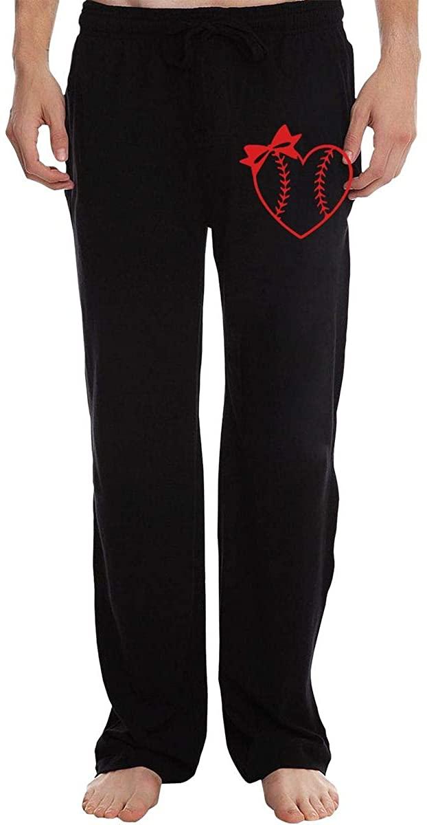 Vhlk07@P Mens Baseball Softball Heart with Bow Jogger Sweatpants, Drawstring Running Pants with Pockets