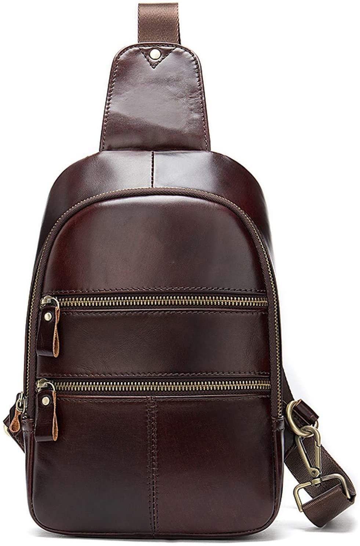 Men's Bag Leather Genuine Sling Bag Men Crossbody/Shoulder Bag for Men Messenger/Man Bags Travel Male Chest Waist Pack 8779,8779F3coffee,18cmX5cmX29cm
