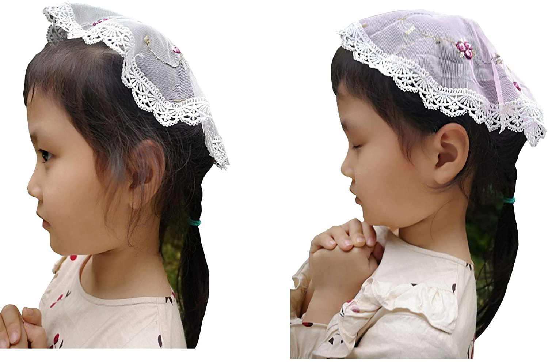 2pcs Girl Embroidery Headcovering Girl Church Veil V53
