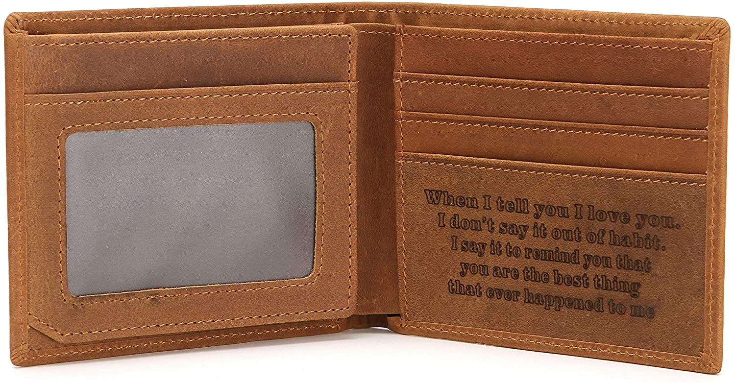FAYERXL Engraved Leather Bifold Wallet To My Husband/Son Gift Ideas Mens Wallet Minimalist Front Pocket RFID