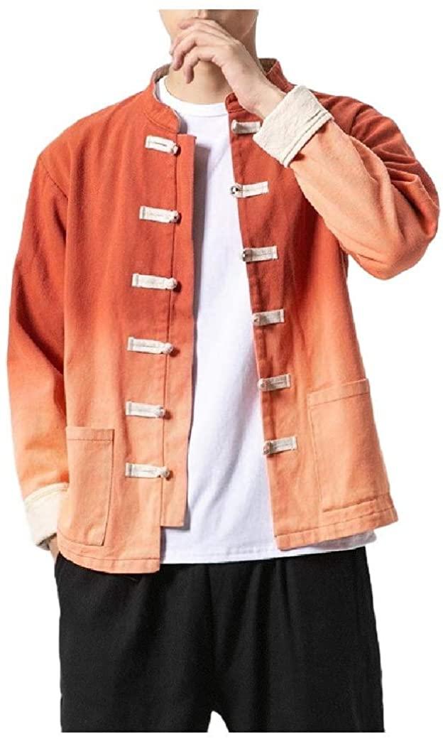 Qhghdgysd Men Chinese Style Washed Autumn Plus-Size Gradients Trucker Jacket