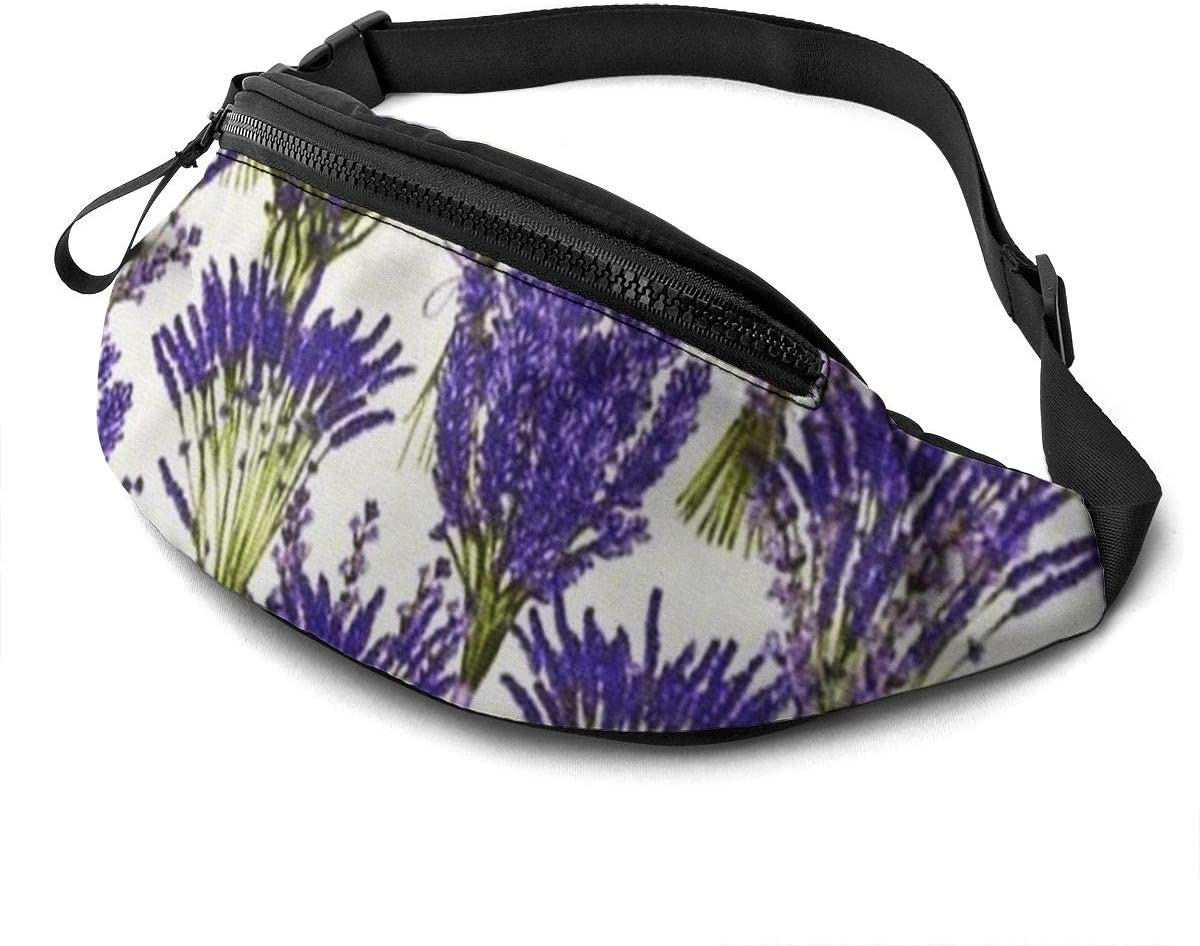 Lavender Pattern Fanny Pack For Men Women Waist Pack Bag With Headphone Jack And Zipper Pockets Adjustable Straps