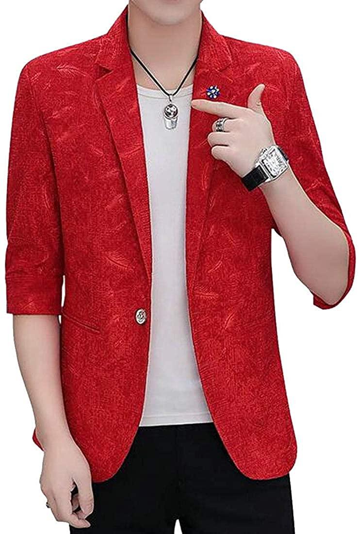 Men Party Nightclub Slim Half Sleeve Print Summer Dress Blazer Jacket Sport Coat,Red,US-XS