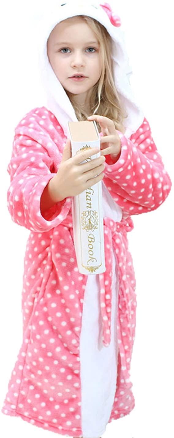Boys Girls Flannel Hoody Bathrobe Animal Cartoon Pajamas Cosplay Plush Robe