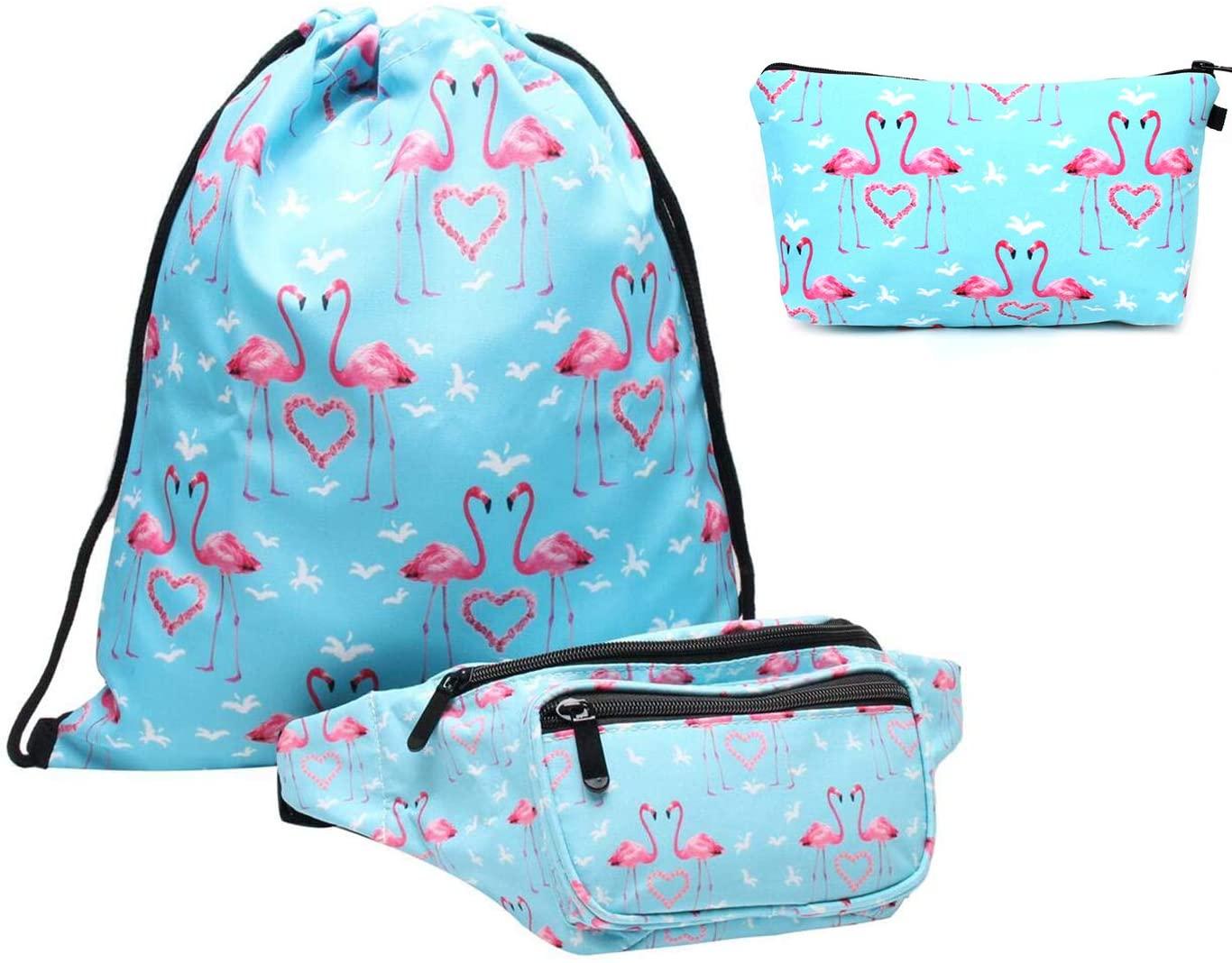 HELLATHUND Fanny Pack Set Unicorn Gifts Travel Backpack Drawstring Bag Waist Bag Set for Teens Girls(Pack of 3)