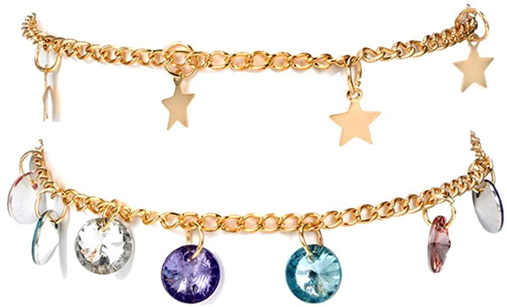 shiYsRL Summer Bracelets String Chain Charm Jewelry 2Pcs/Set Boho Women Star Colorful Rhinestone Charm Sandal Anklet Ankle Bracelet for Women Girls Gifts